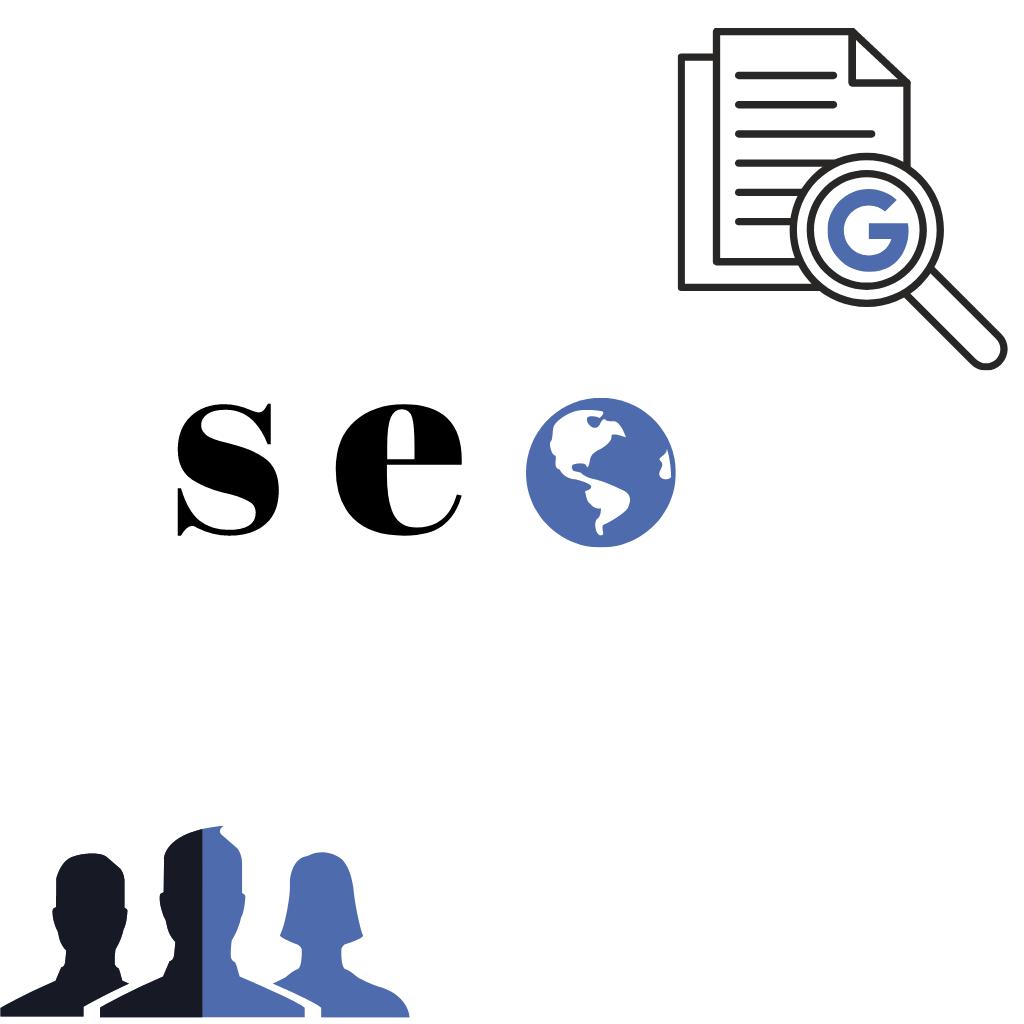 איור של אנשים, חיפוש באינטרנט וטקסט של seo